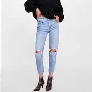 Zara Ripped Denim Jeans
